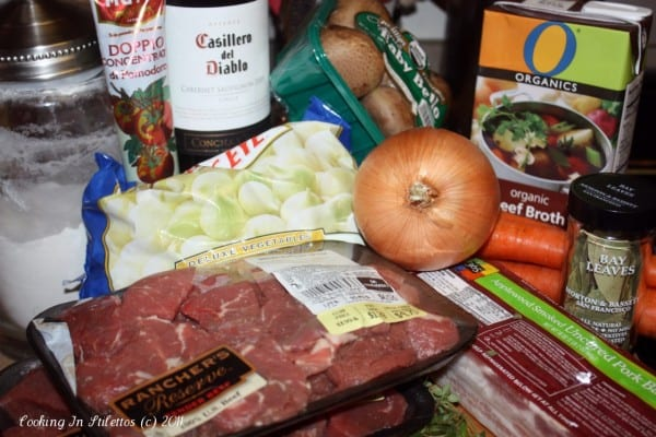 Slow Cooker Beef Bourguignon - ingredients