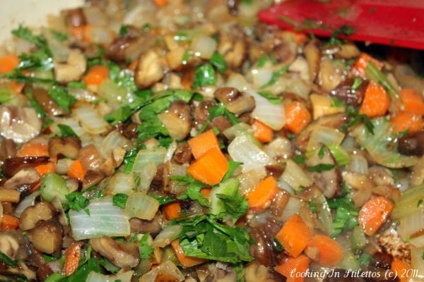 Ciabatta Chestnut Stuffing - Sauteed Mixture | CookingInStilettos.com