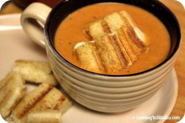 Fire Roasted Tomato Soup With Grilled Cheese Croutons | Cooking In Stilettos