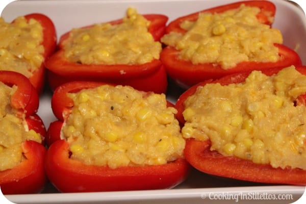 Cheesy Polenta Stuffed Peppers - Fresh Out of the Oven - Stuffed Peppers Ready For the Oven | CookingInStilettos.com