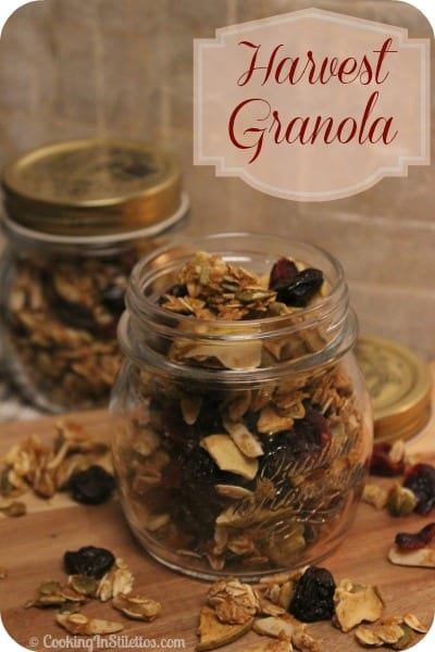 This Harvest Granola is chock full of fall flavors. Dried apples and tart cranberries are tossed with oats, pumpkin seeds, and spices with a sweet drizzle of agave. You might want to make a second batch because it will magicially disappear | Cooking In Stilettos