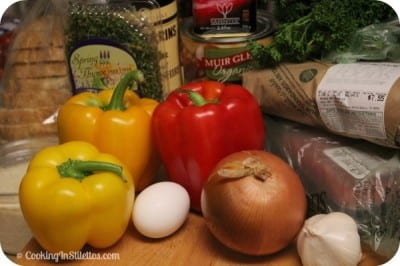 Pan Fried Meatloaf in Tri-Color Peppers - Ingredients | Cooking In Stilettos