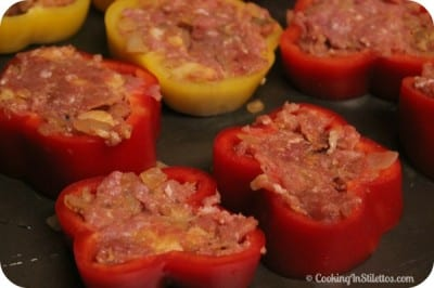 Pan Fried Meatloaf in Tri-Color Peppers - Stuffed | Cooking In Stilettos