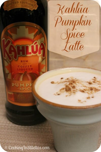 This Kahlúa Pumpkin Spice Latte has an added kick thanks to Kahlúa's latest flavor- Pumpkin Spice - and trumps any coffeehouse version | Cooking In Stilettos