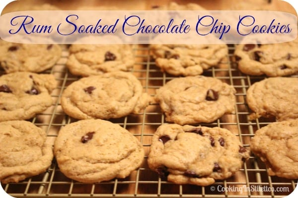 These Rum Soaked Chocolate Chip Cookies have spiced rum flavor in the dough with an extra basting right before they go into the hot steamy oven.  Tell me you don't want one (or two) right now.  | Cooking In Stilettos