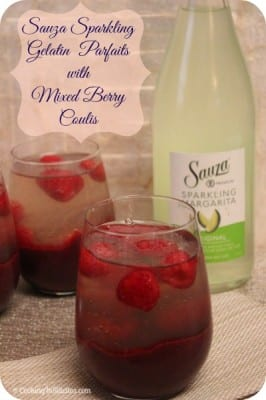 Sauza Sparkling Gelatin Parfaits with Mixed Berry Coulis | Cooking In Stilettos