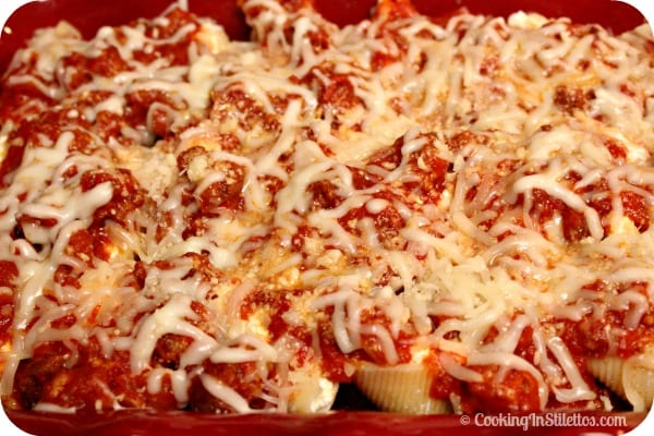 Stuffed Shells with Homemade Tomato Sauce - Time to Bake | Cooking In Stilettos