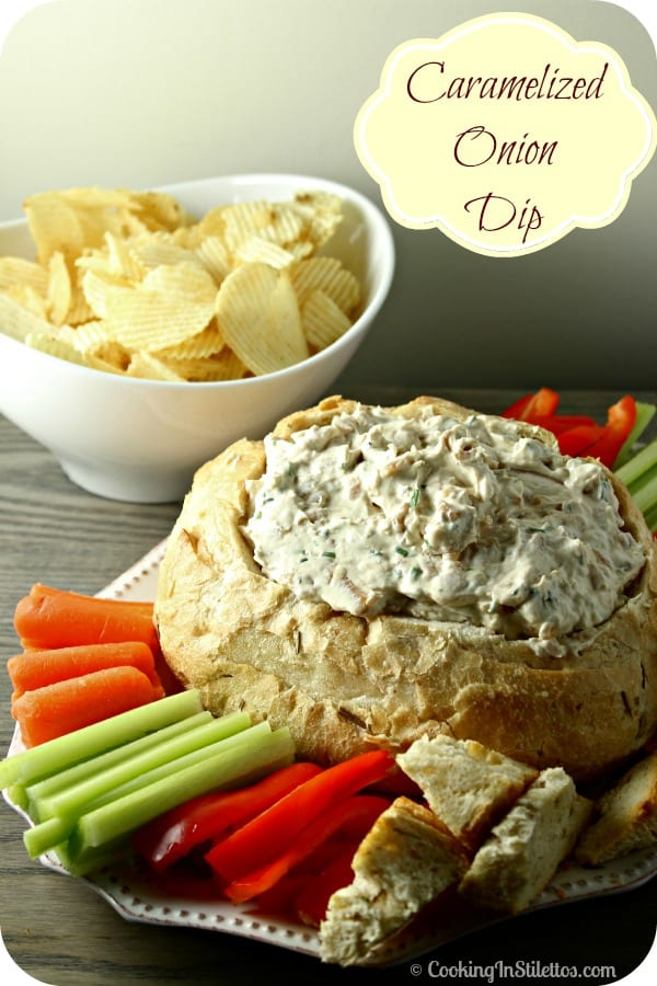 Caramelized Onion Dip Made Lighter from CookingInStilettos.com is perfect for your next soiree. Rich caramelized onions flavored with a touch of thyme and mixed with Greek yogurt and light cream cheese results in super flavorful dip that your family and friends will love!