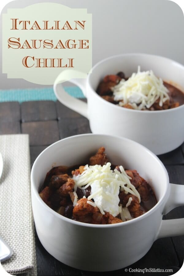 Italian Sausage Chili from CookingInStilettos.com is one of the easiest weeknight dinners that will have your family and friends raving! A few ingredients, your favorite Italian Sausage and it's on the table in about 30 minutes or so. Hungry yet? | Cooking In Stilettos