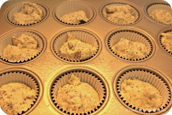 Truvia Lemon Poppy Seed Muffins - Off to the Oven | Cooking In Stilettos