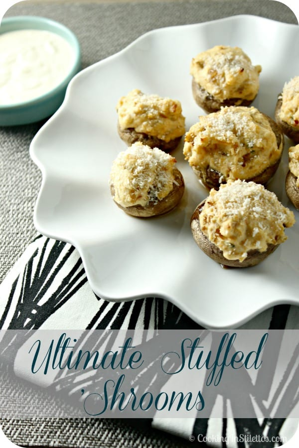 These Ultimate Stuffed 'Shrooms are the best stuffed mushrooms, filled with a creamy cheesy filling and served with a creamy horseradish dipping sauce.