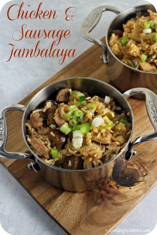 This Chicken and Sausage Jambalaya is packed with flavor and perfect for a weeknight dinner. No simmering for hours here. | Cooking in Stilettos