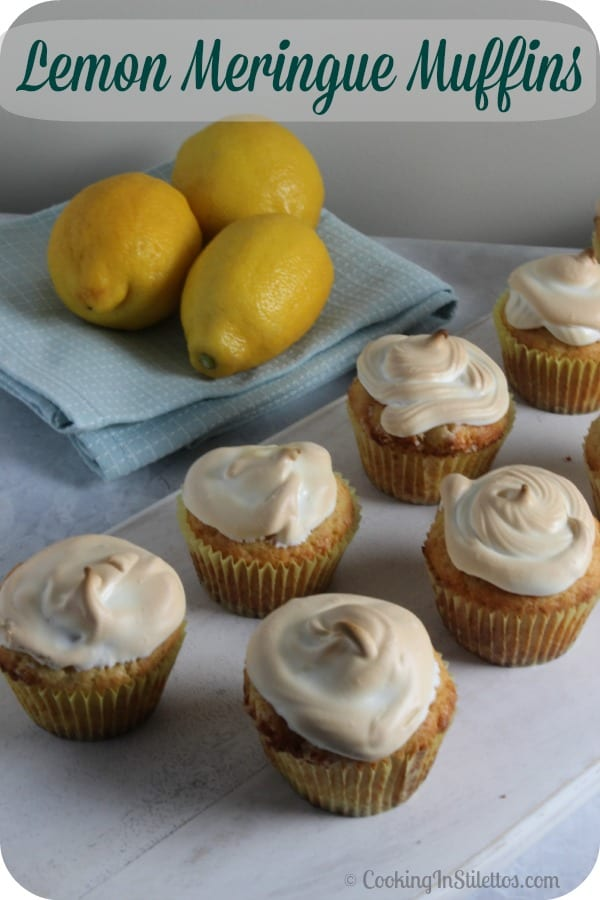 These Lemon Meringue Muffins have the flavor of the classic Lemon Meringue pie but in chic muffin form, perfect for enjoying with a glass of Pure Leaf tea! | Cooking In Stilettos