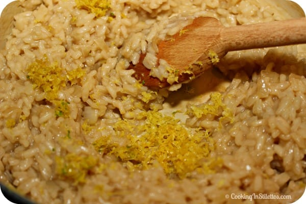 Lemon Risotto - Adding the Lemon Zest | Cooking In Stilettos