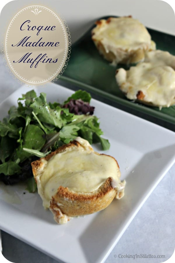 Who doesn't love a Croque Madame?  These Croque Madame Muffins has all of the familiar flavors of the French classic in a chic package.  Make these Croque Madame Muffins for your next weekend brunch! | Cooking In Stilettos