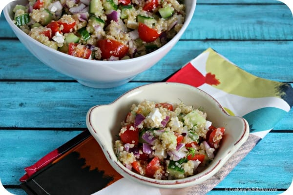 Cucumber Tomato Salad with Quinoa and Ricotta Salata | CookingInStilettos.com