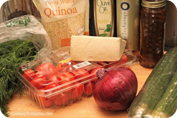 Cucumber Tomato Salad with Quinoa and Ricotta Salata - Ingredients   CookingInStilettos.com