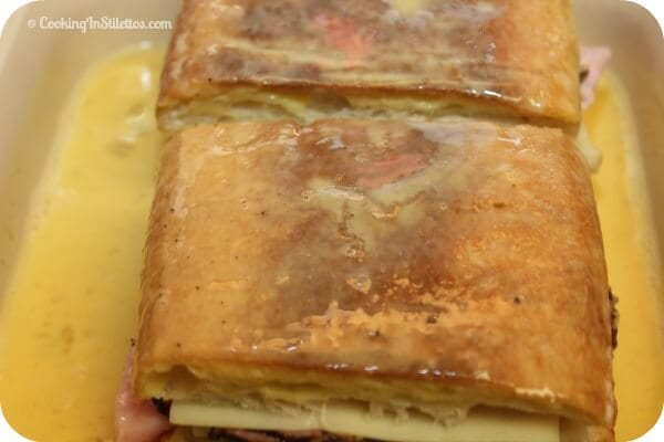 Cuban Monte Cristo Sandwich - Dipping In The Egg Wash   Cooking In Stilettos