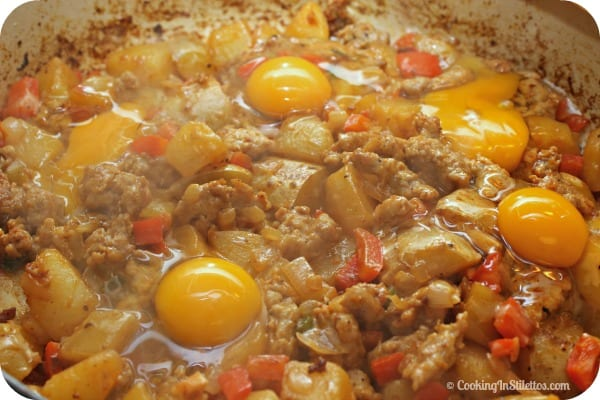 Sausage Hash - Cracking the Eggs | Cooking In Stilettos