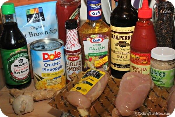 Slow Cooker Polynesian BBQ Chicken - Ingredients | Cooking In Stilettos