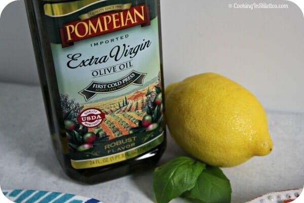 Grilled Chicken and Pear Salad with Lemon Basil Vinaigrette - The Main Flavor Factors - Pompeian Olive Oil, Lemon & Basil   Cooking In Stilettos