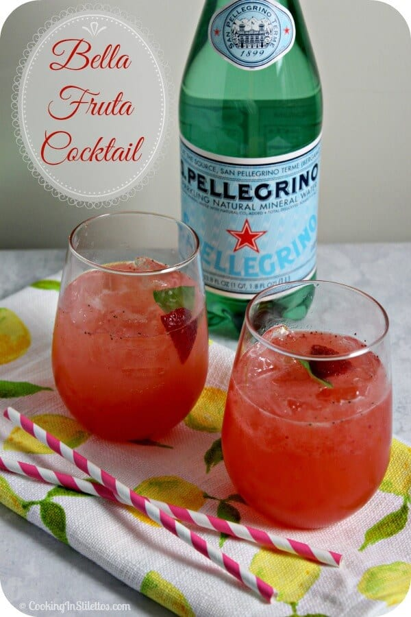 S. Pellegrino Bella Fruta Cocktail is summer in a sip with fresh strawberries, basil and a touch of spirit | Cooking In Stilettos