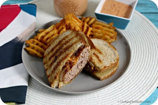 Turkey Burger Patty Melts with Caramelized Onions and Comeback Sauce | Cooking In Stilettos