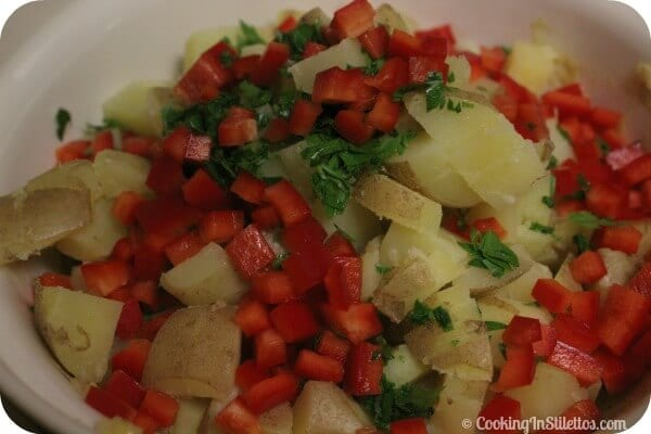 Warm Potato Salad - Time to Mix | Cooking In Stilettos