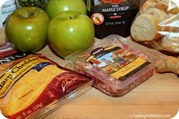 Cheesy Pancetta Apple Crostini - Ingredients | Cooking In Stilettos