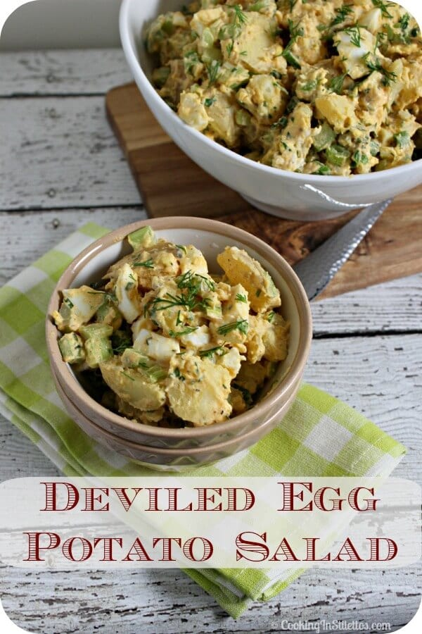 This Deliciously Spicy Deviled Egg Potato Salad from CookingInStilettos.com combines two must haves for any perfect BBQ - Deviled Eggs and Potato Salad. One bite of this and you will never make potato salad the traditional way again. | Potato Salad | BBQ | Cookout | Summer Salad | Deviled Eggs