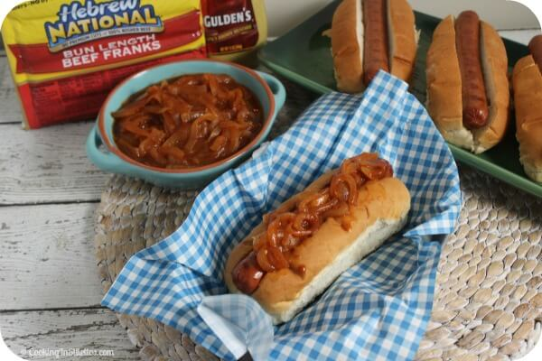 Love that spicy sweet onion sauce you get on the hot dog carts? This Hot Dog Onion Sauce from CookingInStilettos.com will be a hit at the next cookout or tailgate - spicy, smoky and full of flavor - you won't want a hot dog without it | Hot Dogs | Onion Sauce | Condiments | Spicy Onion Sauce