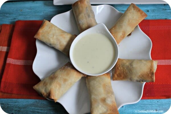 Philly Cheesesteak Egg Rolls with Zesty Provolone Dip | Cooking In Stilettos
