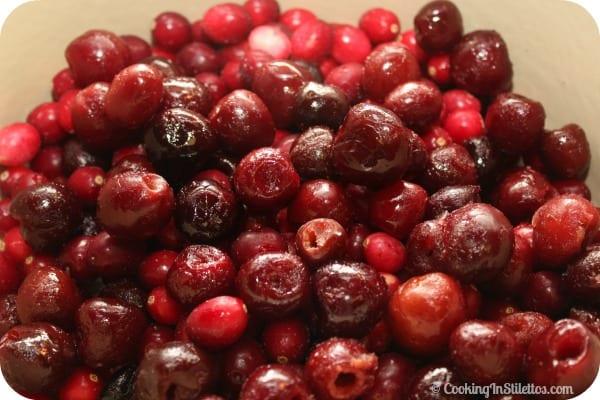 Spiced Cherry Cranberry Chutney - Frozen Cherries and Cranberries   Cooking In Stilettos
