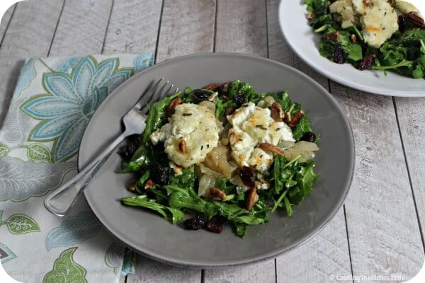 Arugula Salad with Baked Goat Cheese and Rosemary Honey | Cooking In Stilettos