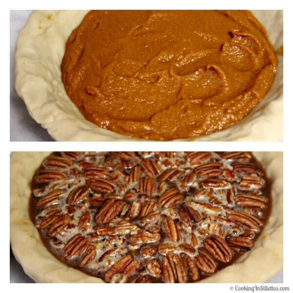 Bourbon Pecan Pumpkin Pie - Layering the Filling | Cooking In Stilettos