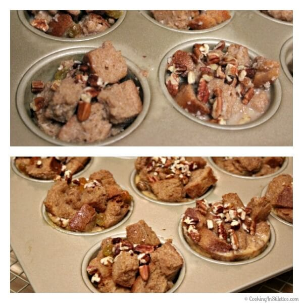 Mini Spiced Rum Raisin Bread Pudding - Before and After Baking  | Cooking In Stilettos