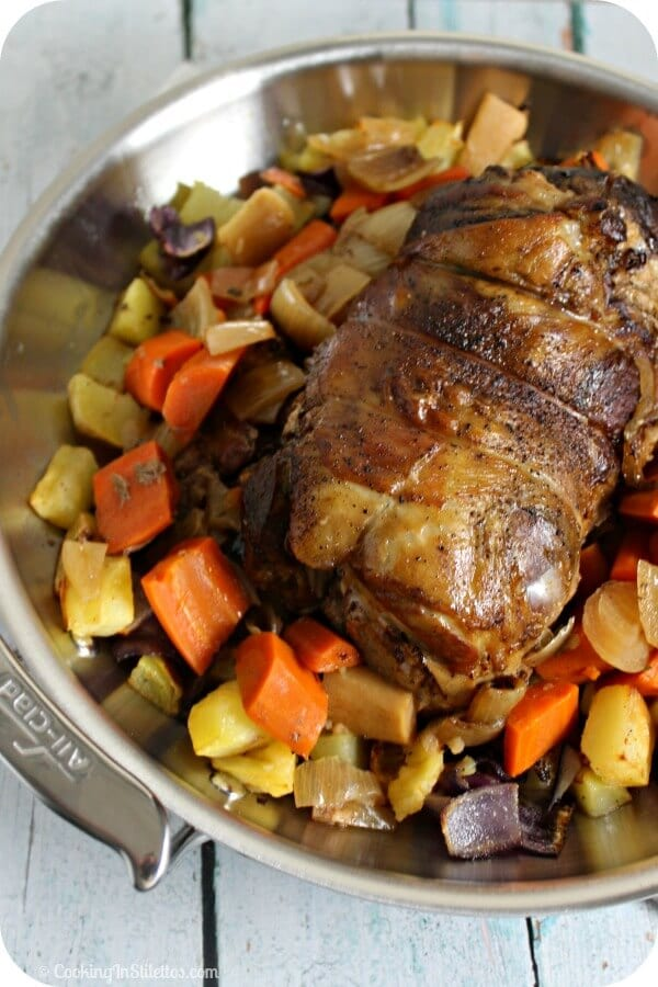 This delicious Slow Cooked Leg of Lamb from CookingInStilettos.com is made easy thanks to the slow cooker. Just a few ingredients and the slow cooker does all of the work for a scrumptious dinner!
