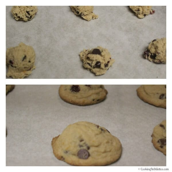 Orange Cranberry Chocolate Chip Cookies - Before and After Baking | Cooking In Stilettos