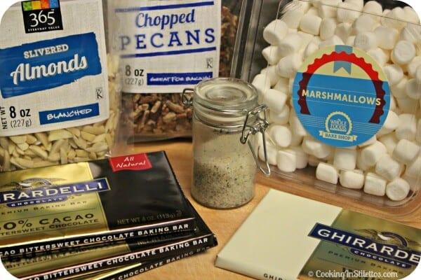 Rocky Road Chocolate Bark - Ingredients | Cooking In Stilettos