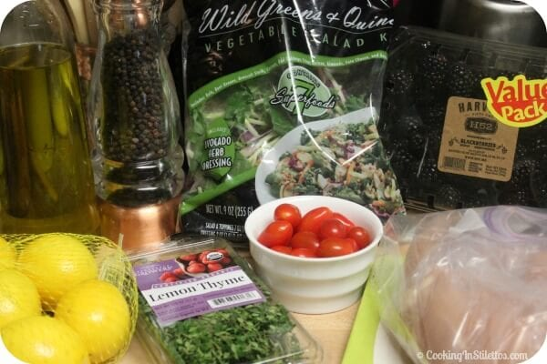 Wild Greens and Quinoa Salad with Baked Lemon Chicken - Ingredients | Cooking In Stilettos