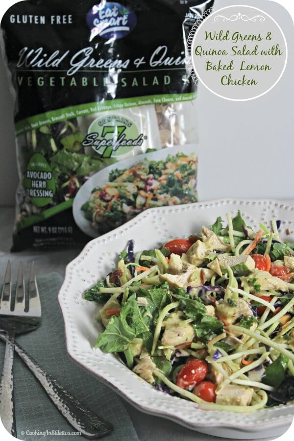 Wild Greens and Quinoa Salad with Baked Lemon Chicken | Cooking In Stilettos