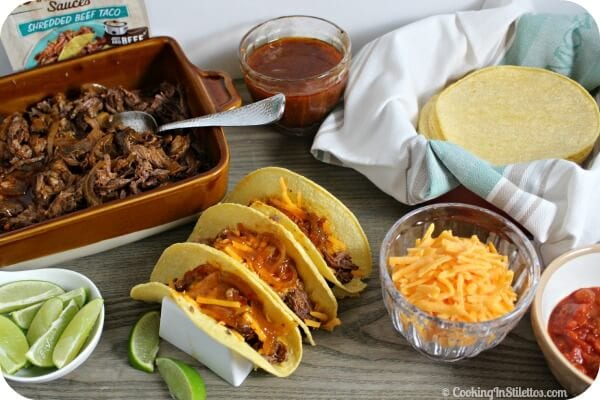 Easy Shredded Beef Tacos | Cooking In Stilettos
