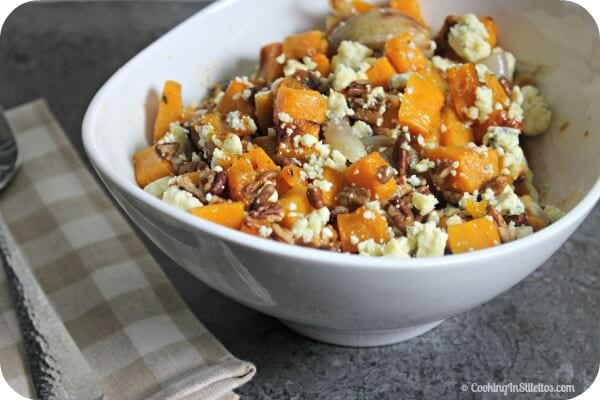Roasted Butternut Squash With Pecans, Shallots and Blue Cheese is a scrumptious side dish, perfect for weeknights, potlucks and holiday dinners | Butternut Squash | Roasted Butternut Squash Recipe | Blue Cheese | Roasted Shallots | Savory Pecan Recipe | Side Dish | Autumn | Fall Recipe