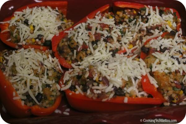 Veggie Southwestern Stuffed Peppers - Back Into the Oven | Cooking In Stilettos