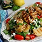 Grilled Chicken and Pear Salad with Lemon Basil Vinaigrette #PledgeforEVOO