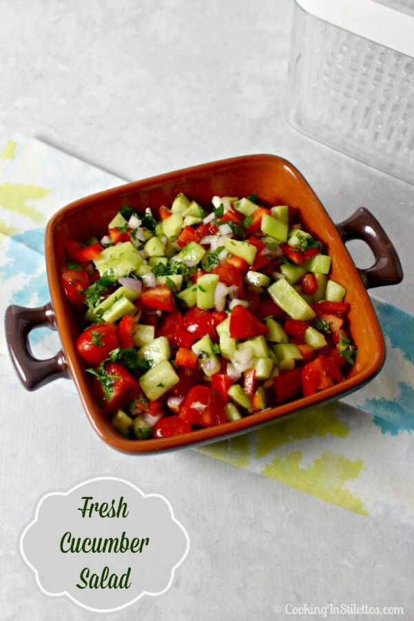 Nothing says summer better than fresh produce and this Fresh Cucumber Salad from CookingInStilettos.com with crisp veggies tossed in a lemony herb vinaigrette is perfect for summer entertaining. Added bonus - summer produce couldn't be fresher thanks to #OXOGreensaver. Vegetarian | Produce | Cucumber Salad | Fresh Summer Salad | Cookout | Picnic Recipes