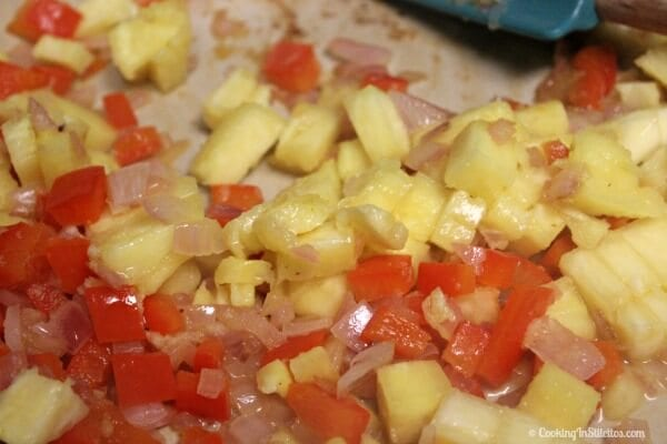 Aloha Fried Rice - Sauteing the onions, peppers and pineapple | Cooking In Stilettos