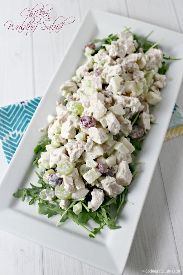 Chicken Waldorf Salad is a light modern twist on a classic. Fresh chicken is tossed with crisp celery, apples, grapes and crunchy walnuts and drizzled with a lemony yogurt dressing for the perfect picnic salad! Chicken Salad | Summer Salad | Yogurt | Healthy Salad | Salads made Lighter | Picnic Recipe | Summer Recipe