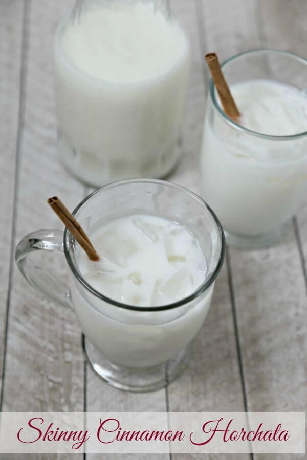 This Skinny Cinnamon Horchata from CookingInStilettos.com is a delicious sip for your next summer brunch. Sweet and creamy with a hint of spice, this Horchata will have your guests begging for the recipe | Horchata | Cinnamon | Rice Drink | Mexican | Summer Drinks | Brunch
