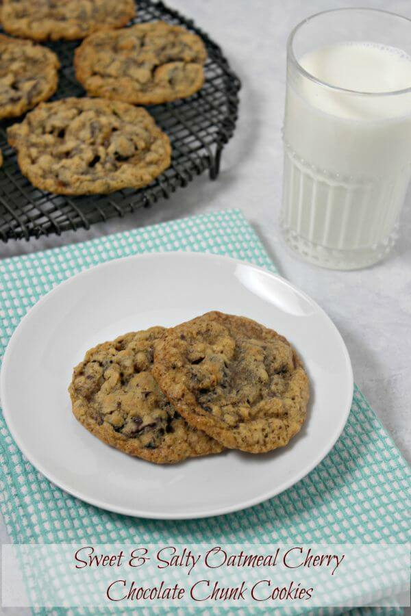 Sweet and Salty Oatmeal Cherry Chocolate Chunk Cookies are a cookie ...
